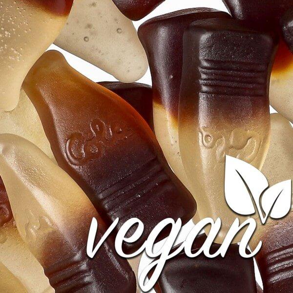 Vegane Fruchtgummi Cola-Fläschchen ohne Gelatine