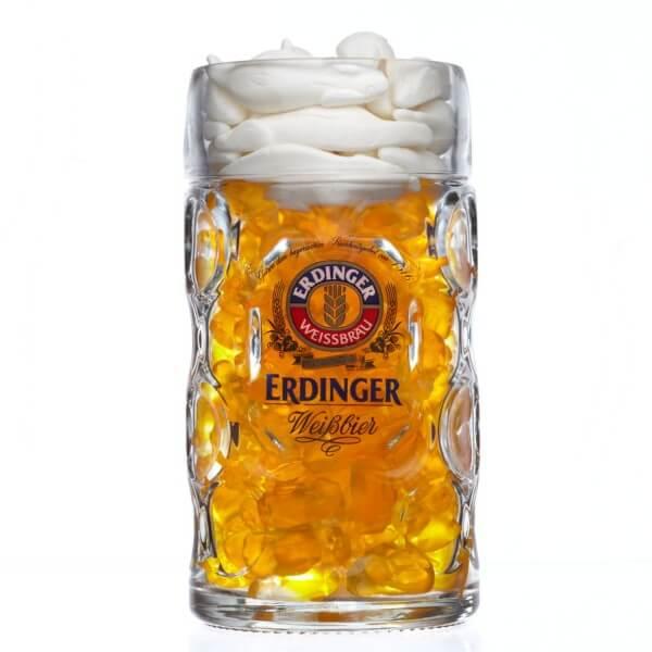 Bierkrug 1l mit Bier Fruchtgummi gefüllt