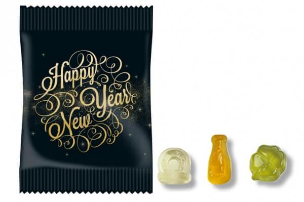 100 Stück Fruchtgummi Mini Tütchen im Silvester Design