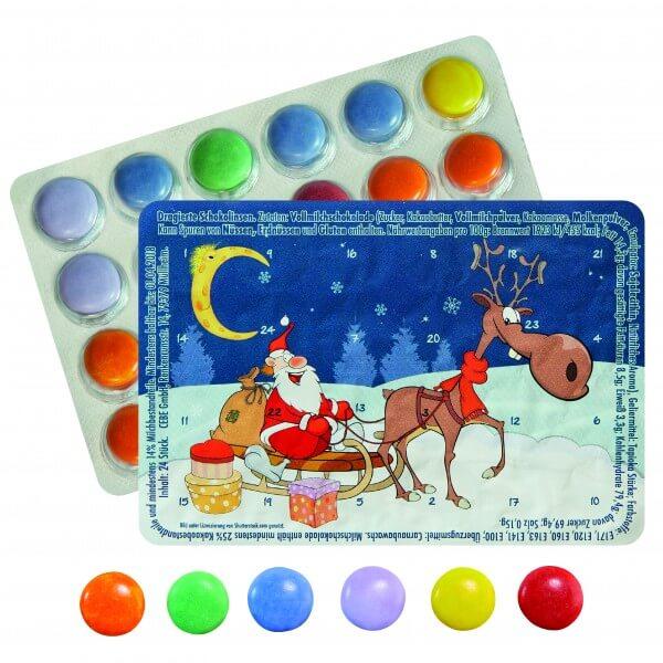 """Mini Adventskalender mit Schokolinsen """"Geschenkeschlitten"""""""
