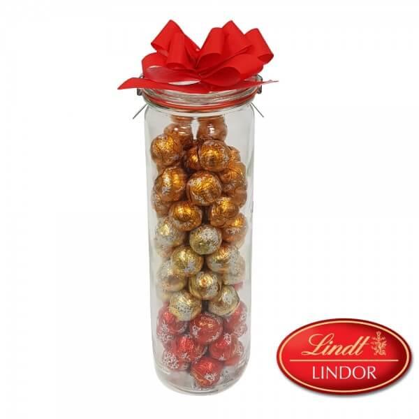 Süßes Vorratsglas mit 300g Lindt Lindor Mini Kugeln, gemischt