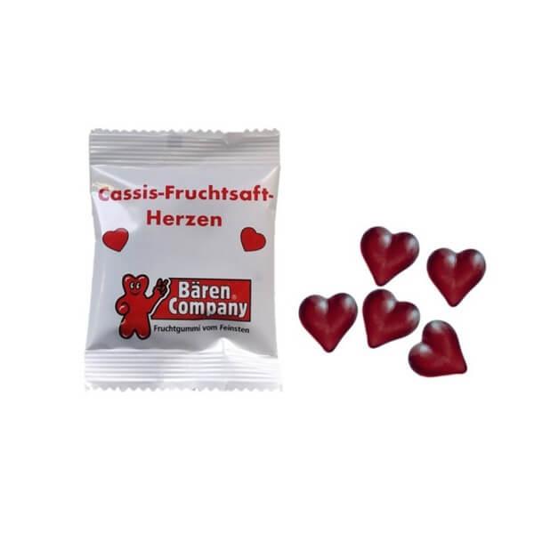 Fruchtgummi Cassis-Herzen in 10g Tüten