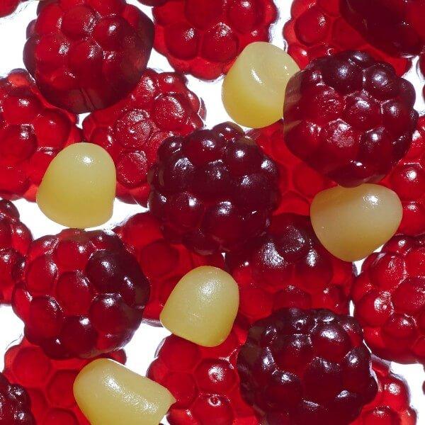 Fruchtgummi Rote Grütze mit Vanille uns Fruchtsaft 10%