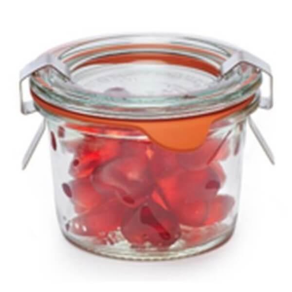 Weckglas Mini Himbeerherzen-Fruchtgummi