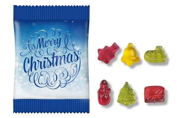 100 Stück Fruchtgummi Mini Tütchen im Design Weihnachten