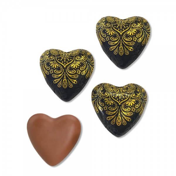 Schokoladenherzen schwarz-gold 150 Stück