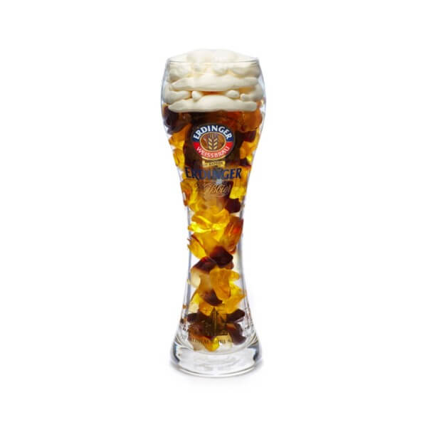 Weizenbierglas 0,3l mit Cola-Bier-Fruchtgummi gefüllt